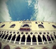 Doges palace in Venetian-style architecture in Venice by fisheye Royalty Free Stock Photo