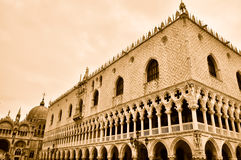 Doges' Palace in Venice. Sepia view of the Doges' Palace in Venice royalty free stock photography