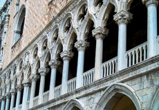 Doges Palace Venice Italy Columns. Architectural detail of columns of the Doges Palace Palazzo Ducale in Venice, Italy. Formerly the Doge`s residence and the stock photos