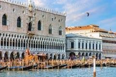 Doges slott och gondolpir nära piazza San Marco, Venedig, I arkivbild