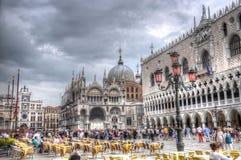 Doges slott och piazza San Marco, Venedig, Italien (HDR) Arkivbilder