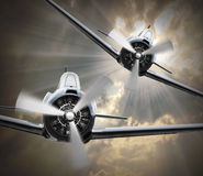 Dogfight on The Sky. Royalty Free Stock Image