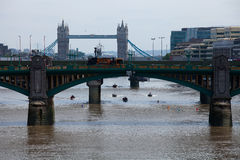 Doggets Rowers on Thames Stock Images