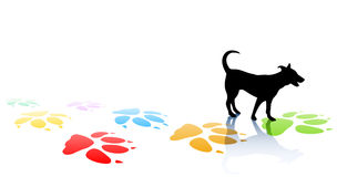 Doggy. Editable  illustration of a young dog silhouette and colorful paw prints with space for text Royalty Free Stock Photo