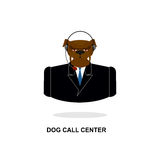 Doggy call Center. Dog with headset. Pet in costume Stock Images