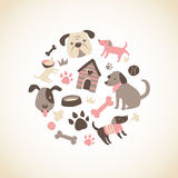 Doggy Collection. Set of cute doggy related icons arranged in a circle. Available as in Illustrator EPS 10 format with organized and named layers. Also available royalty free illustration