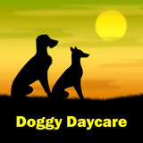 Doggy Daycare Represents Canines Pasture And Pup. Doggy Daycare Indicating Grassy Canines And Night stock illustration
