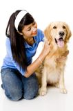 Doggy e sua menina imagens de stock royalty free