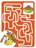 Doggy and food bowl. Maze game for kids: Help the doggy find their tasty food Stock Image