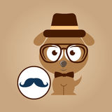 Doggy hipster concept, mustache style Stock Images