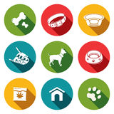 Doggy icons set. Doggy icon collection on a colored background stock illustration