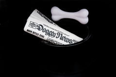 Doggy News. Paper in dogs bowl on black. News like man bites dog Royalty Free Stock Images