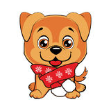 Doggy with scarf. Happy Dog cartoon. Cute puppies isolated royalty free illustration