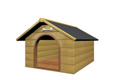 Doghouse. 3d image of a wood doghouse stock illustration