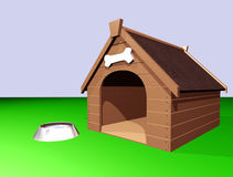 The Doghouse. 3D illustration of a large wooden doghouse or kennel with a bowl of water vector illustration