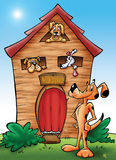 Doghouse. Cartoon illustration of a doghouse stock illustration