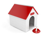 Doghouse. With bowl and bone on white background vector illustration