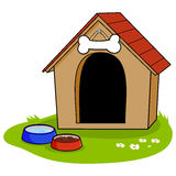 Doghouse. A doghouse and bowls of water and dog food royalty free illustration