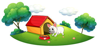 A doghouse and a dog in an island Stock Photography