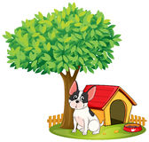 A doghouse and a dog under a tree. Illustration of a doghouse and a dog under a tree on a white background stock illustration