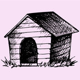 Doghouse. Doodle style sketch illustration hand drawn vector vector illustration