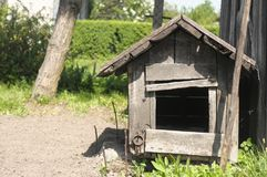 Doghouse on farm. Without any dog royalty free stock image