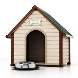 Doghouse and food bowl isolated on white background. 3D illustration.  vector illustration