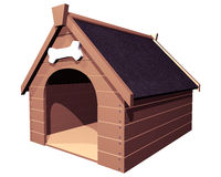 The Doghouse isolated. 3D isolated illustration of a large wooden doghouse or kennel vector illustration