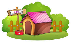A doghouse near the wooden fence. Illustration of a doghouse near the wooden fence on a white background Royalty Free Stock Photography