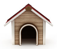 Doghouse with red roof. Doghouse isolated on white background royalty free illustration
