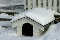 In The Doghouse - Scandinavian style. An uninhabited, snowclad doghouse on the porch of a house in Norway in winter Stock Photography