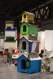 Doghouses at Weekend Donna 2013 in Milan, Italy Royalty Free Stock Photography