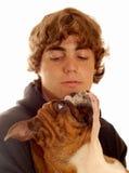 Dogo del adolescente y del animal doméstico Fotografía de archivo