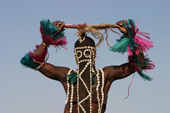 Dogon dancer greeting Stock Images