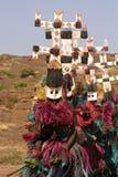 Dogon Tänzer in einer Reihe Stockbild