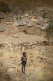 Dogon village, Dogon land, Tireli, Mali, Africa. Tireli, Mali, Africa - January 30, 1992: Dogon village and typical mud buildings Stock Photo