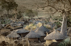 Dogon village, Dogon land, Tireli, Mali, Africa. Tireli, Mali, Africa - January 30, 1992: Dogon village and typical mud buildings, buildings used as barns for Royalty Free Stock Image
