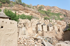 Dogon village, Mali (Africa). The principal Dogon area is bisected by the Bandiagara Escarpment Royalty Free Stock Photos