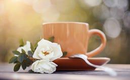 Dogrose och röd kopp med en sked Royaltyfria Bilder