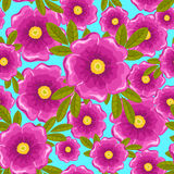 Dogrose seamless blue pattern. Dogrose seamless pattern. Pink and blue. Vector background Stock Photography