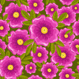 Dogrose seamless green pattern. Dogrose seamless pattern. Pink and green. Vector background Stock Photos