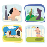 Dogs. Amusing child illustrations of dogs Royalty Free Stock Images