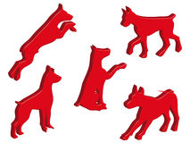 Dogs in 3D. Dog silhouettes in different poses and attitudes Stock Photography