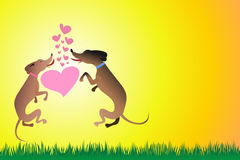 Dogs. The kiss of two jumping dogs royalty free illustration