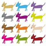 Dogs. Silhouettes of dogs of various colors vector illustration