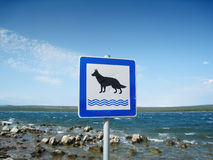 Dogs allowed on beach sign (1). Dogs allowed on beach sign at the mediterranean sea, island cres, Croatia Royalty Free Stock Images
