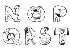 Dogs alphabet Stock Image