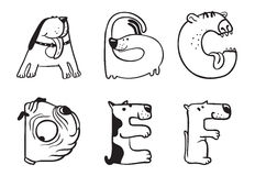 Dogs alphabet Royalty Free Stock Photography