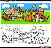 Dogs animal characters large group color book royalty free stock image