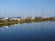 boats sea sky blue reflection Stock Image